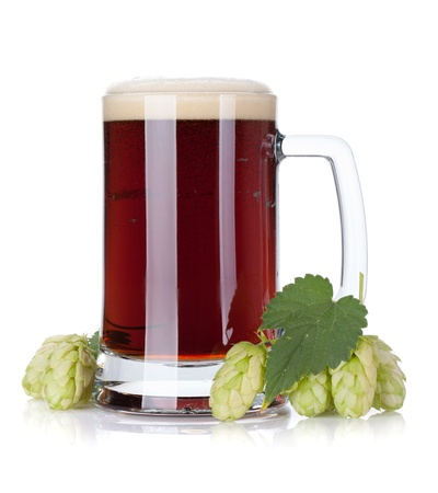 beer bubbles: Dark beer mug and hop branch  Isolated on white background