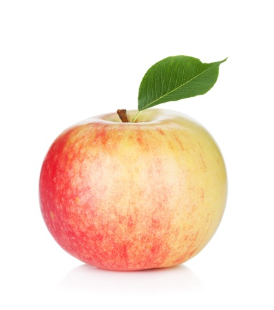 Ripe apple with green leaf  Isolated on white background Stock Photo