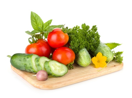 italy food: Ripe vegetables and herbs. Isolated on white background