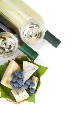White wine, cheese and grape. Closeup. View from above. Isolated on white background photo