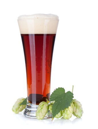 hop hops: Dark beer cup and hop branch  Isolated on white background