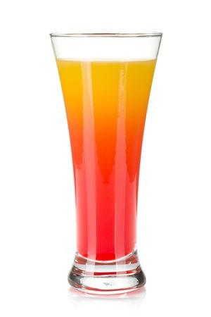 grenadine: Tequila sunrise cocktail  Isolated on white background Stock Photo
