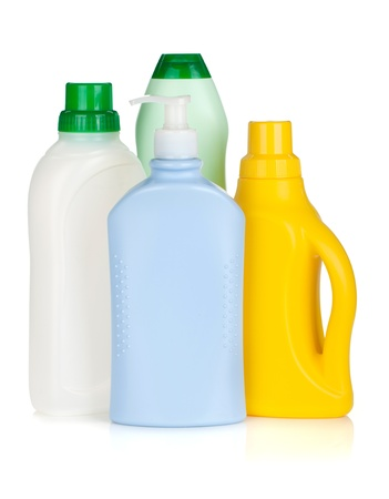 Plastic bottles of cleaning products. Isolated on white background Stock Photo - 15788110