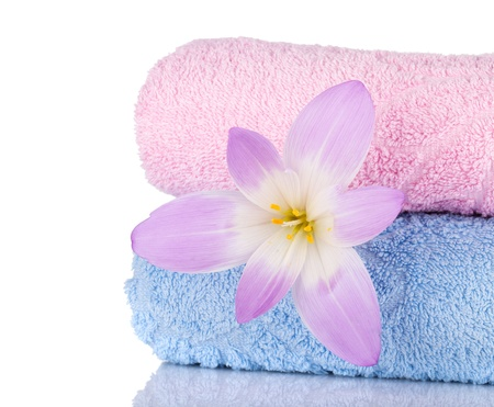 Pink and blue towels and flower. Closeup