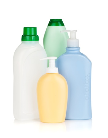 Plastic bottles of cleaning products. Isolated on white background Stock Photo - 15958885