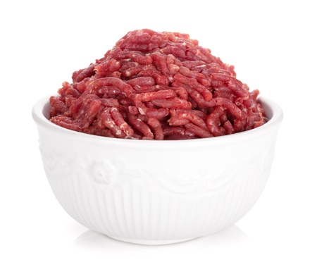 Minced meat. Isolated on white background Stock Photo