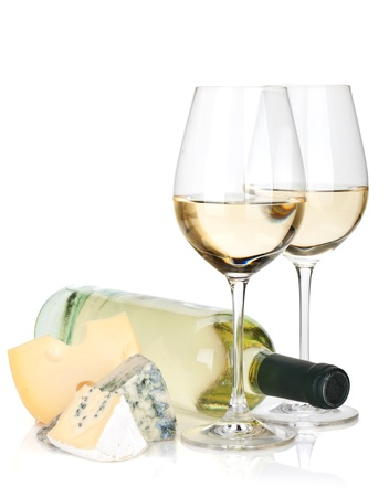 White wine and cheese. Isolated on white background photo