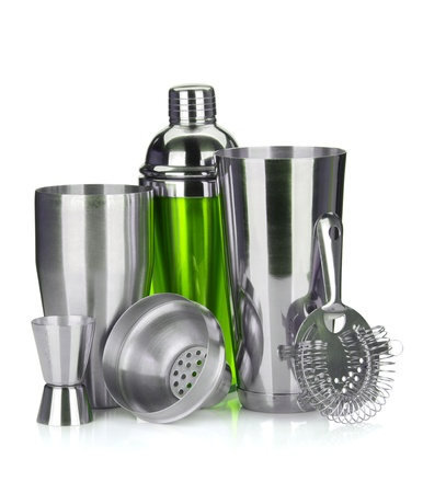 cocktail strainer: Cocktail shaker, strainer, measuring cup. Isolated on white background