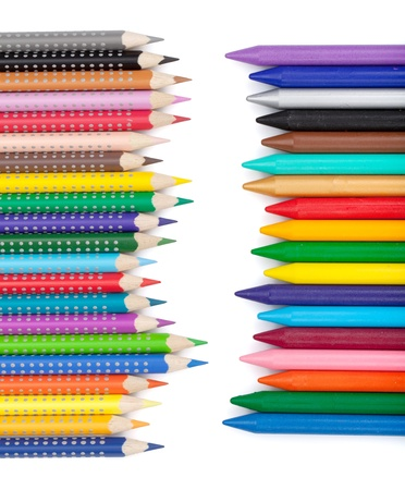 multi colors: Various color pencils and markers. Isolated on white background