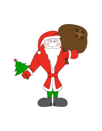 Santa Claus with christmas tree and gift bag Vector