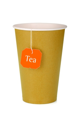 Cardboard tea cup with teabag. Isolated on white background photo