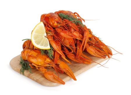 Boiled crayfishes with lemon slice and dill. Isolated on a white background Stock Photo - 16245137