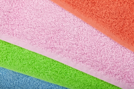 Colored towels macro texture background photo