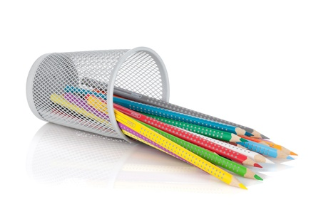 pencil holder: Various colour pencils in holder. Isolated on white background