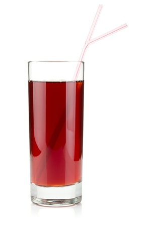 grenadine: Pomegranate juice in a glass with two drinking straws. Isolated on white background Stock Photo