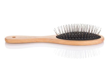 Hair brush. Isolated on white background photo