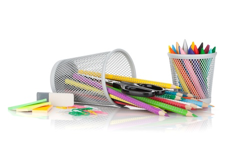 Various colorful pencils and office tools. Isolated on white background Stock Photo - 16413421