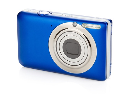 compact camera: Blue compact camera. Isolated on white background