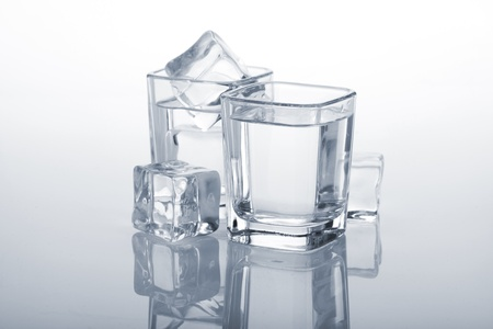 Vodka shots with ice cubes. Blue toned Stock Photo - 16413554