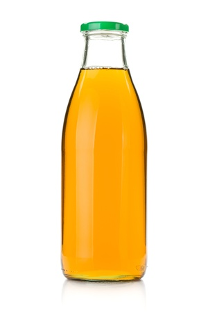 Apple juice in a glass bottle  Isolated on white background