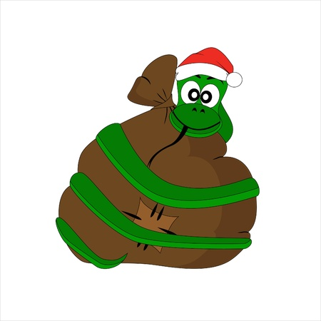 a snake in a bag: Christmas snake with gift bag. Vector character