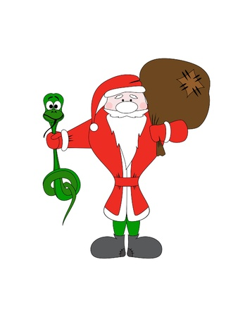 a snake in a bag: Santa Claus with christmas snake and gift bag. Vector character
