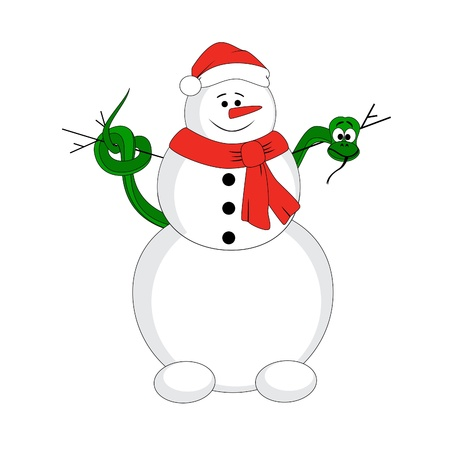 Snowman with christmas snake. Vector character Stock Vector - 16538714