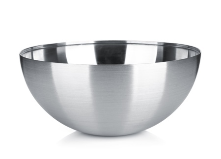 Stainless steel bowl. Isolated on white background photo