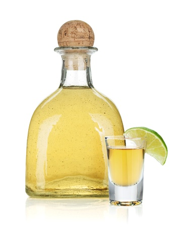Bottle of gold tequila. Isolated on white background Stock Photo - 16742117