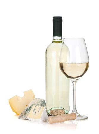 cheeseboard: White wine, cheese and corkscrew. Isolated on white background Stock Photo