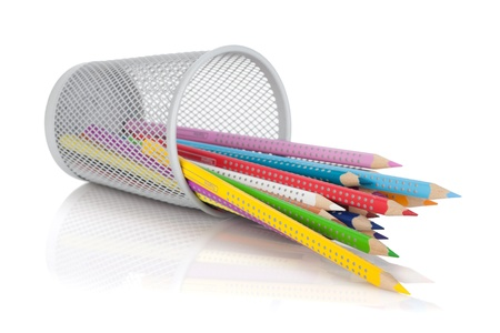 Vaus colour pencils in holder. Isolated on white background Stock Photo - 16901954