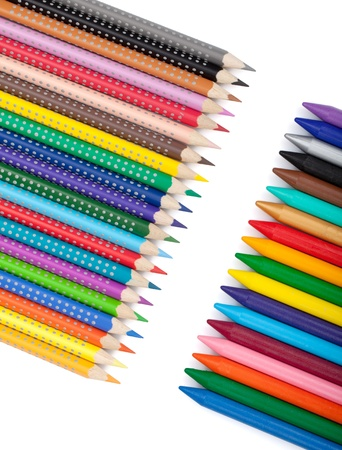 Various color pencils and markers. Isolated on white background Stock Photo - 17194173