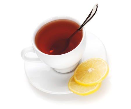 Tea cup with lemon slices. Isolated on white background photo