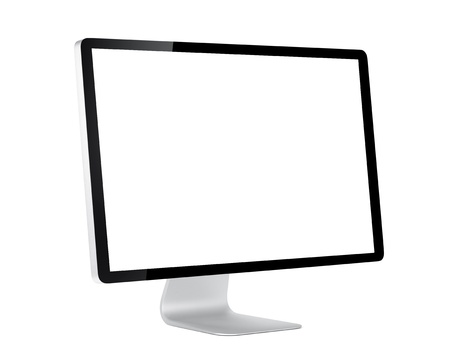 flat panel monitor: Computer display with white blank screen. Isolated on white background