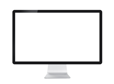 Computer display with black blank screen. Front view. Isolated on white background