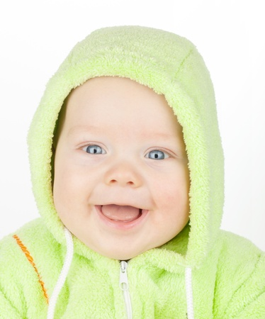 Closeup portrait of cute baby on white photo