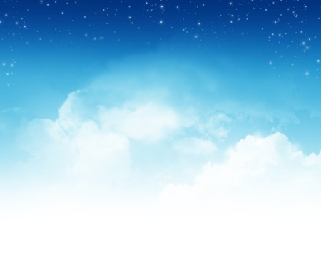 sky: Cloudy blue sky with stars abstract background