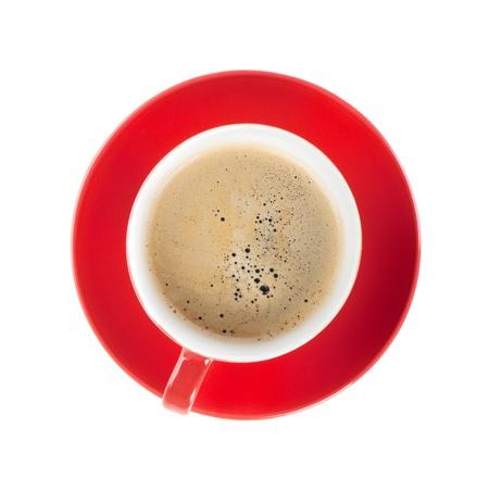 tazas de cafe: Taza de café roja. Vista desde arriba. Aislado sobre fondo blanco