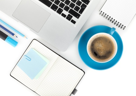 Coffee cup and office supplies. View from above. On white background Stock Photo