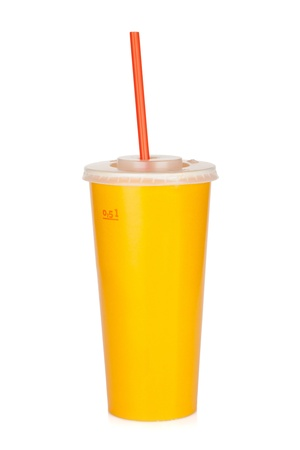 Fast food drink with straw. Isolated on white background photo