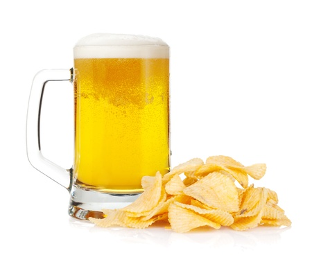 Beer mug and pile of potato chips. Isolated on white background Stock Photo - 18199034