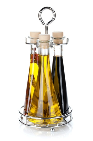 Set of olive oil and vinegar bottles. Isolated on white background photo