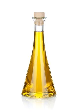 aceite de cocina: Botella de aceite de oliva. Aislado sobre fondo blanco