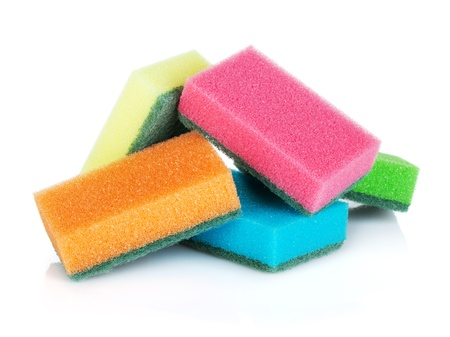 clean kitchen: Cleaning sponges. Isolated on white background Stock Photo