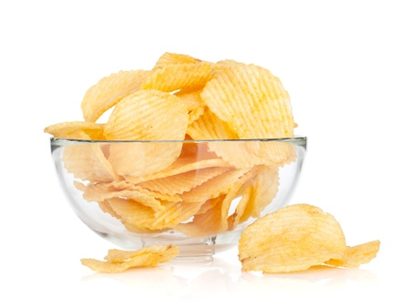 Potato chips in glass bowl. Isolated on white background Stock Photo - 18199013