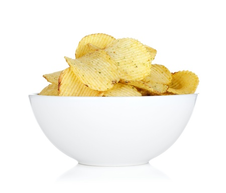 Potato chips in bowl. Isolated on white background Stock Photo - 18199007