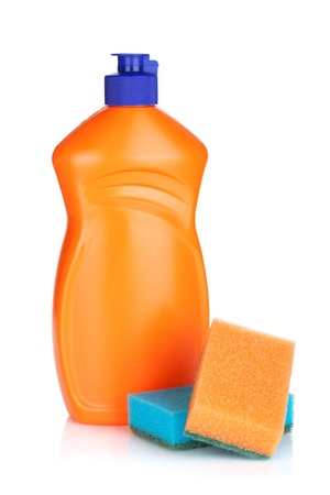 Plastic bottle of cleaning product and sponges. Isolated on white background photo
