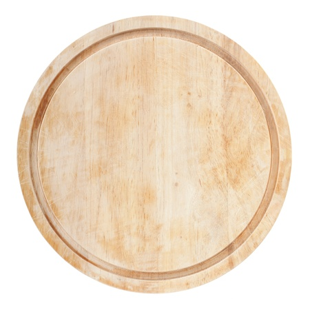 Round chopping board. Isolated on white background. View from above Stock Photo