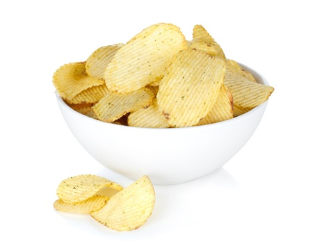Potato chips in bowl. Isolated on white background Stock Photo - 18375419