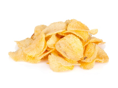 Potato chips heap. Isolated on white background Stock Photo - 18375417